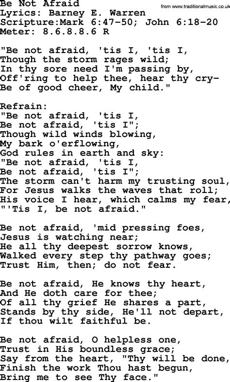 Be Not Afraid Lyrics Hymn idea gallery