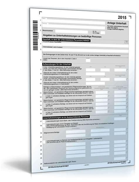 anlage unterhalt  steuerformular zum