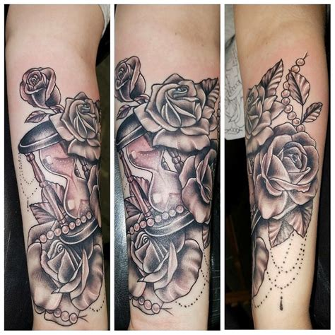 tattoo roses pearls hourglass arm leafs