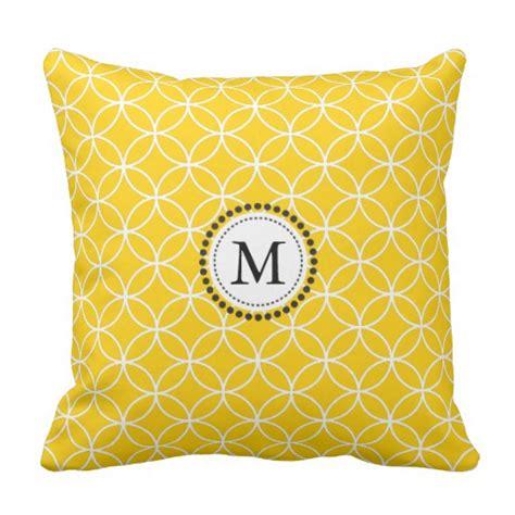 lemon yellow monogram throw pillow zazzle
