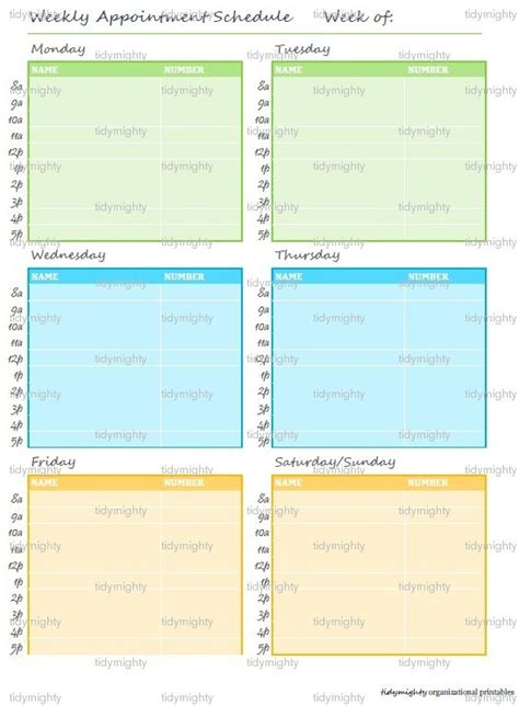 weekly appointment planner schedule printable