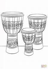 Djembe Coloring Drums Pages Drum Printable Instruments Musical Music Sheet Drawing Elementary Dibujo sketch template