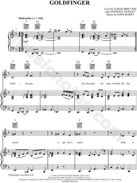 goldfinger sheet music from james bond 007 goldfinger