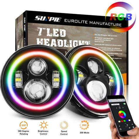 sunpie  rgb led chasing halo headlights bluetooth control