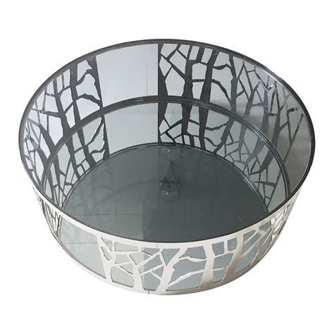 Houzz gdfstudio sidney modern glam tempered glass oval coffee table with iron frame. Merlin Tempered Glass & Stainless Steel Round Coffee Table, 90cm
