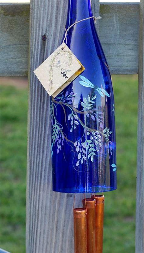 recycled wine bottle wind chime purple  jesnjerartdesign
