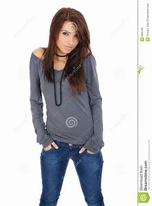 Sexy Happy Girl In Blue Jeans Royalty Free Stock Photos ...