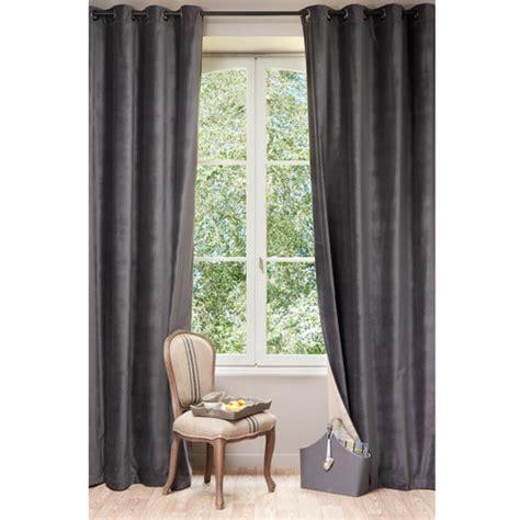 velvet curtain charcoal grey 140 x 300 cm maisons du monde