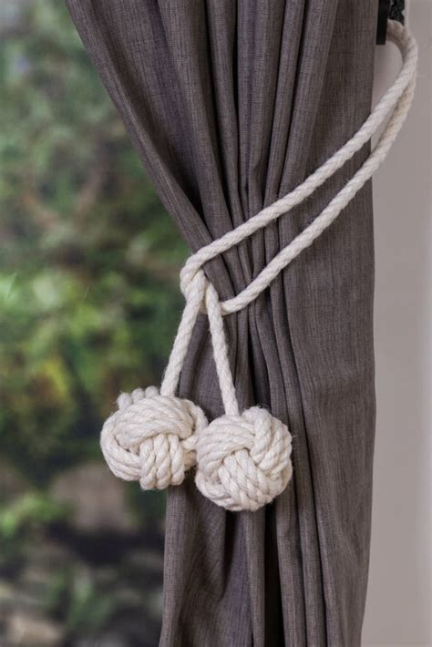 shabby chic curtain ties cotton rope tie backs rope ties monkey fist knot curtain tiebacks shabby chic windows rope