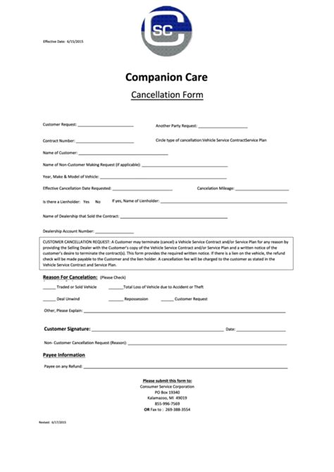 cancellation form templates