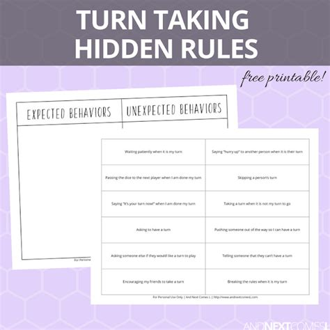 turn taking hidden rules social skills printable and next comes l