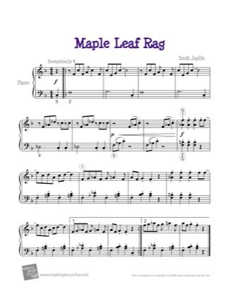 116 scores found for maple leaf rag. Maple Leaf Rag (in F) - Scott Joplin Free Piano Sheet ...