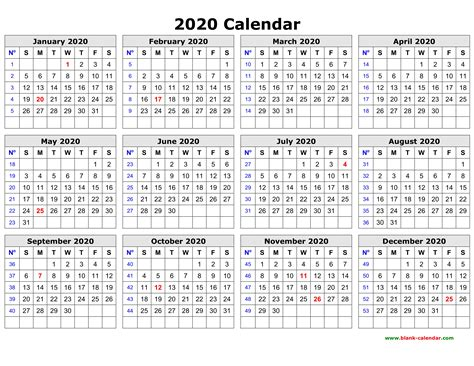 Free Download Printable Calendar 2020 In One Page, Clean