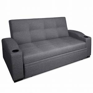 3 seater pull out sofa bed lounge couch grey crazy sales for 3 seater pull out sofa bed