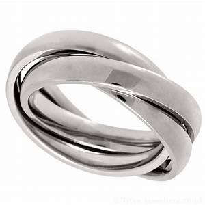 Russian wedding ring made from 3 x titanium bands for Mens russian wedding ring