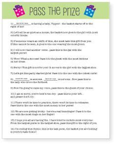 baby shower game pass the prize or get the gift fun poem to read to pass the gift around and