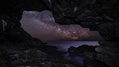 View Of Milky Way Sky From Beach Cave Hd Wallpaper