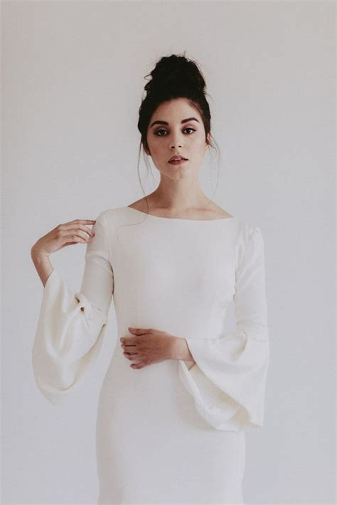 trendy bell sleeve wedding dresses   weddingomania