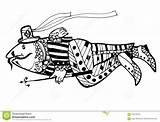 Coloring Spear Wersion Fish Weit Animals Sketch Drawn Schwarzes Version Fischen Stange Einem Sie Faerben Seite Painting Davon Illustrationen Cartoon sketch template