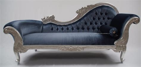 Chaise Longue Silver Leaf Blue Grey Velvet Lounge Sofa