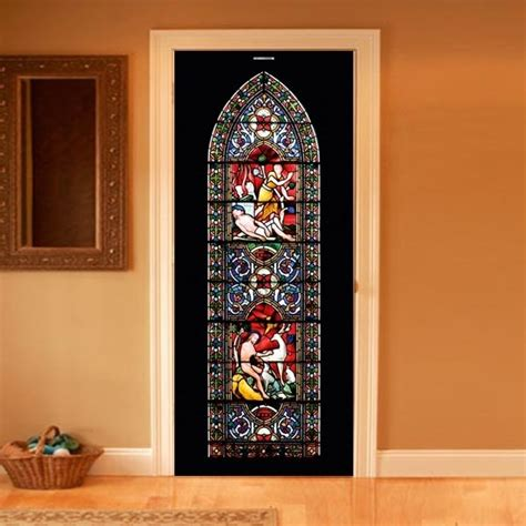 stained glass l style your door trompe l oeil stained glass by couture deco