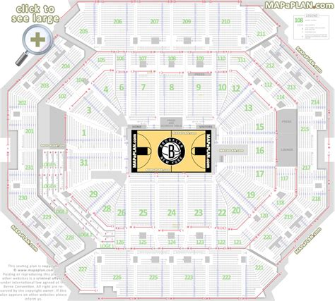 barclays center brooklyn nets  seat numbers detailed seating chart  york