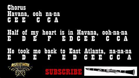 camila cabello havana bb clarinet notes youtube