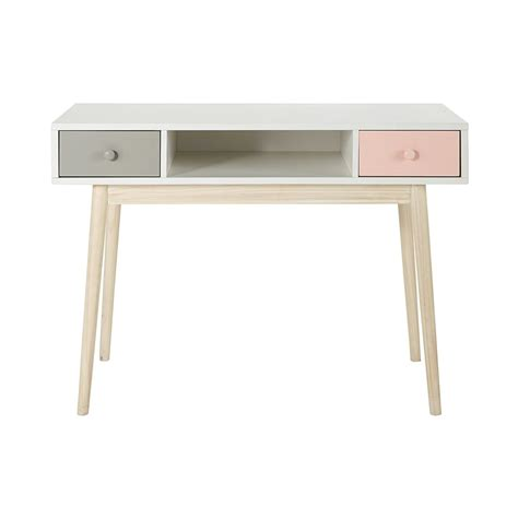 bureau en l bureau en bois blanc l 110 cm blush maisons du monde