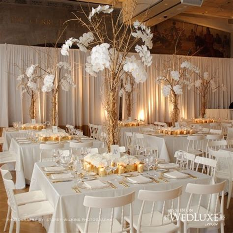 Table And Chair Hire For Weddings by Gold And White Wedding Room Look With Gorgeous Braches