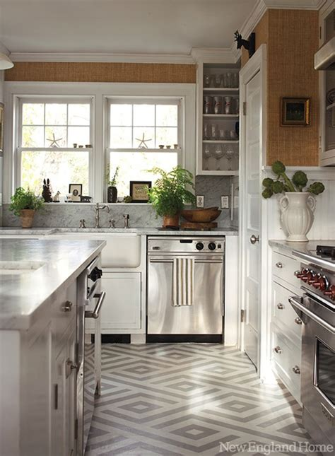 geometric painted floor contemporary kitchen