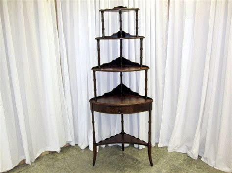 30's Mahogany Etagere Corner Tiered Shelves With Drawer
