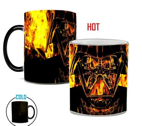Zak designs star wars unique color changing ceramic coffee mug, collectible keepsake and wonderful coffee mug (15oz, han solo and mine has the star wars logo and the saber bases at the bottom and the colored sabers appear with heat. Darth Vader Heat Reveal Mug | Mugs, Star wars mugs, Color ...