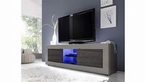 Meuble TV design lumineux en beige mat et wenghé, meuble deux portes collection Azzura de qualité