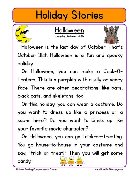 resources holidays worksheets 228   holiday stories comprehension halloween