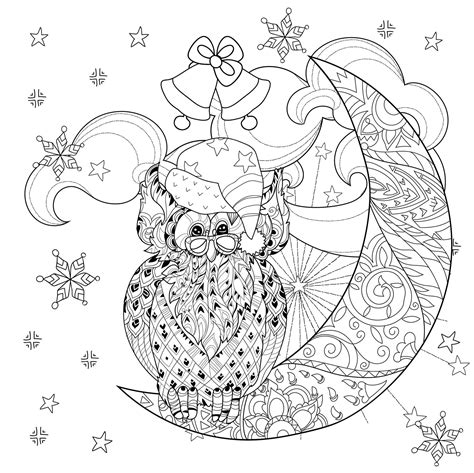 christmas owl  moon christmas adult coloring pages