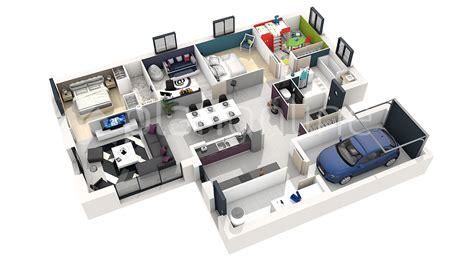 plan 3d chambre maison solineo