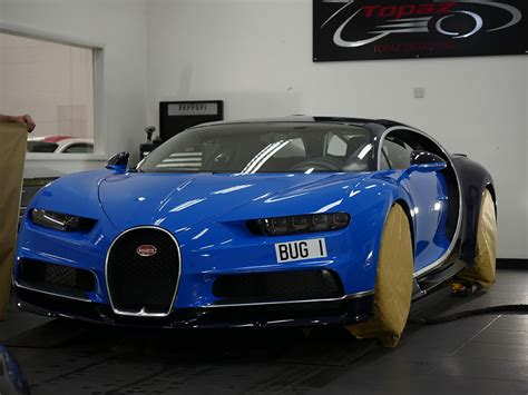 Based on the license plate this is once again a factory owned car. Blue Bugatti Chiron | Topaz Detailing
