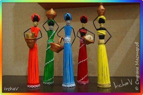 african doll  newspaper tubes art