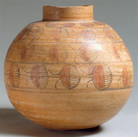 spherical jar   rows  painted decoration work