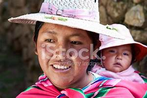 Bolivian Woman Carrying Her Baby, Isla Del Sol, Bolivia ...