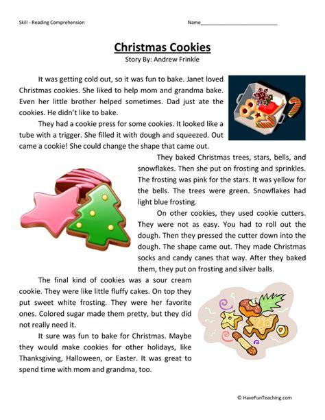 christmas cookies reading comprehension worksheet
