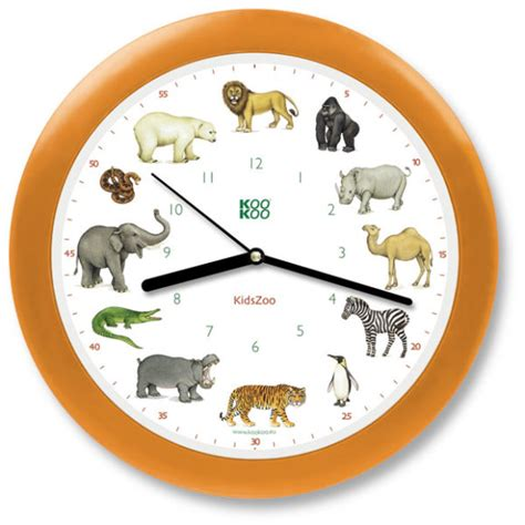 kids zoo animals wall clock   animal sounds
