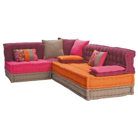 canapé d angle multicolore banquette d 39 angle 5 places en coton multicolore bolchoï