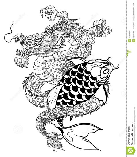 hand drawn dragon  koi fish  flower tattoo  arm