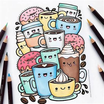 Kawaii Coffee Doodle Doodles Colouring Colour Turning