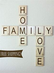 Large individual scrabble letters tiles crossword