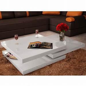 Table Carree Blanc Laqué : acheter table basse blanc laqu carr e pivotante 3 plateaux pas cher ~ Teatrodelosmanantiales.com Idées de Décoration