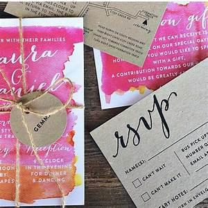 bright pink orange watercolor watercolour kraft wedding With watercolor wedding invitations australia