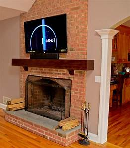 Tv Installation On Brick Fireplace In Easton  U2013 Wires Run Inside Mantle  U2013 Home Theater