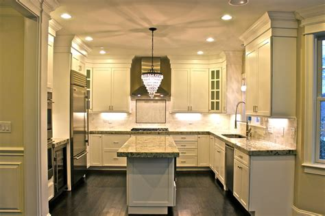 crown kitchens and lighting furniture white granite with chandelier also 6305
